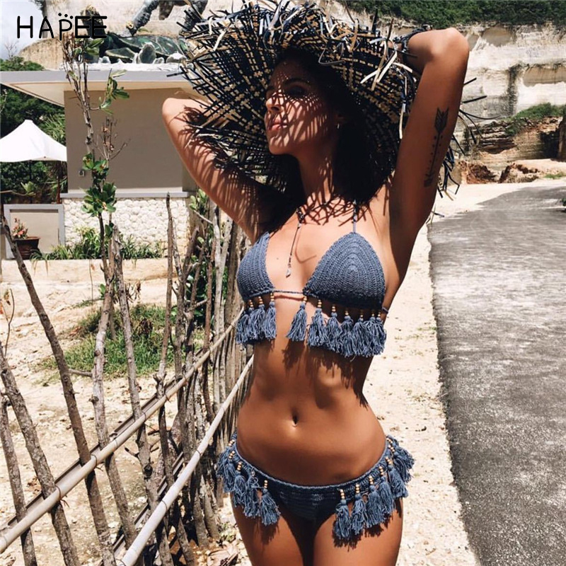 Halter Beaded Tassel Women White Black Blue Bathing Suits Knitted Bikini Crochet Crop Top Sexy hollow Out Crochet Swimwears 200cm 150cm backgrounds wooden wheel wooden cart carts florist flowers diverse photography backdrops photo lk 1287 page 5