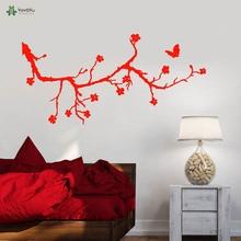 YOYOYU Vinyl Wall Decal Simple Beautiful Cherry Tree Branch Butterfly Room Home Modern Art Decoration wall Stickers FD244