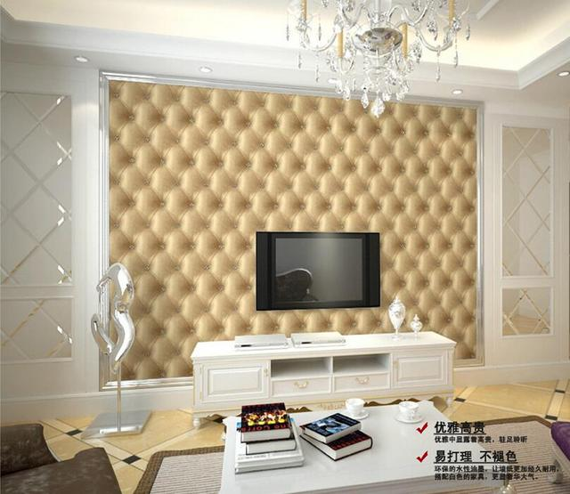 European simple PVC leather upholstered 3d wall murals wallpaper ...
