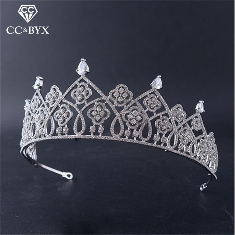 CC tiaras and crowns hair ornaments baroque style luxury cz wedding hair accessories for bridal vintage engagement jewelry HG633