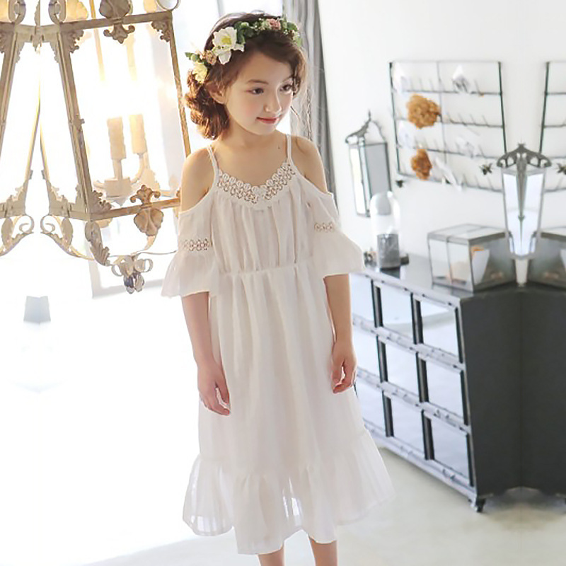 2018 Big Girls Leaking Shoulder Dress Children Clothing Baby Girls Dress Summer Kids Lace Hollow Dresses For Girls 4-16 Years