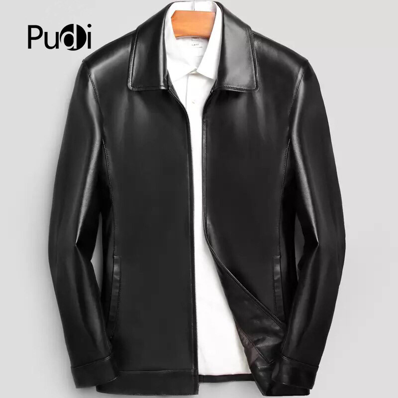 PUDI MT816 2018 ผู้ชายใหม่แฟชั่น sheep หนังแจ็คเก็ตกับ turn   down collar ฤดูใบไม้ร่วงฤดูหนาว casual outwear-ใน แจ็กเก็ต จาก เสื้อผ้าผู้ชาย บน   1