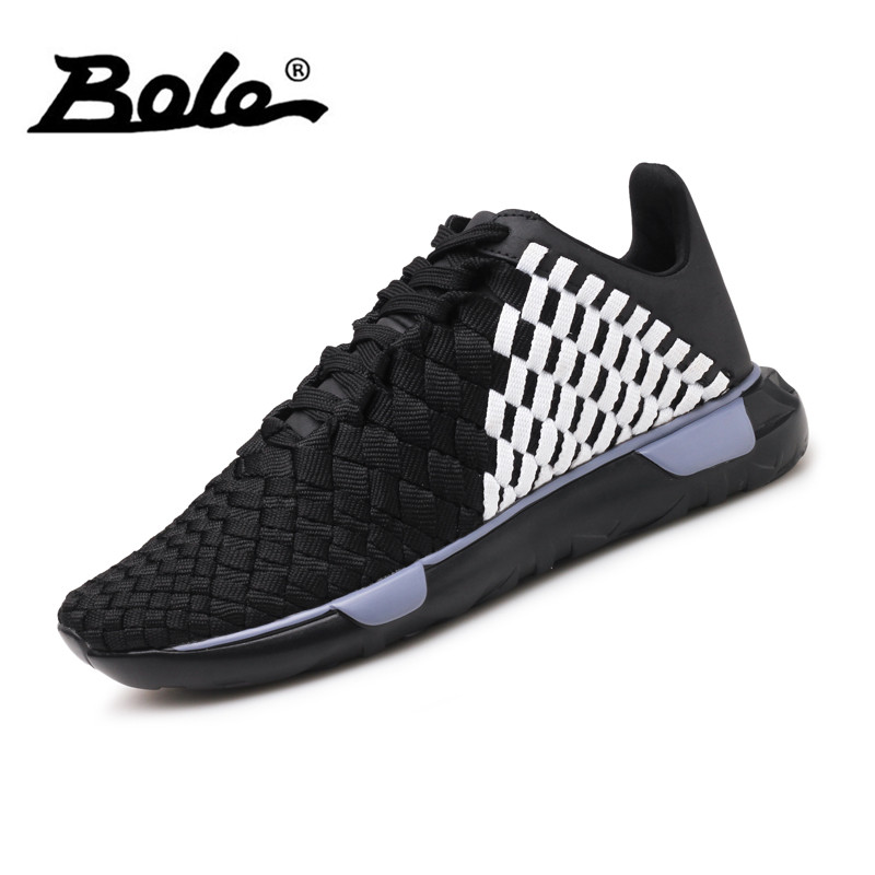 BOLE New Handmade Knit Casual Shoes Breathable Light Weight Sneakers for Men Fashion High Quality Men Casual Shoes Footwear Men
