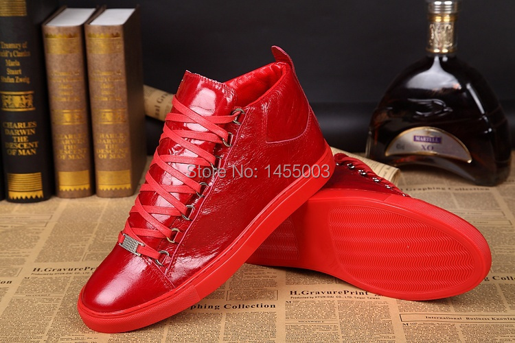 Newest Lace up Men Sneakers Red Leather