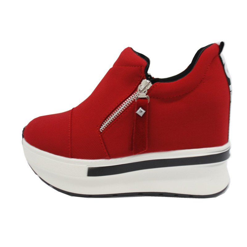 DoraTasia size 35-40 Fashion Women High Heel Wedge Women Shoes Woman Zipper Pumps Summer Ladies Spring black red casual shoes