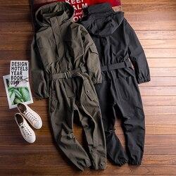 Hip Hop Women Men's Long Sleeve Bib Overalls With Hooded Jackets For Male Hiphop Work Suit Streetwear Loose Boyfriend Jumpsuit