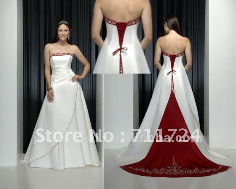 Famoso perfetto ricamo rosso e abiti da sposa bianco in perfetto ricamo  ZT71