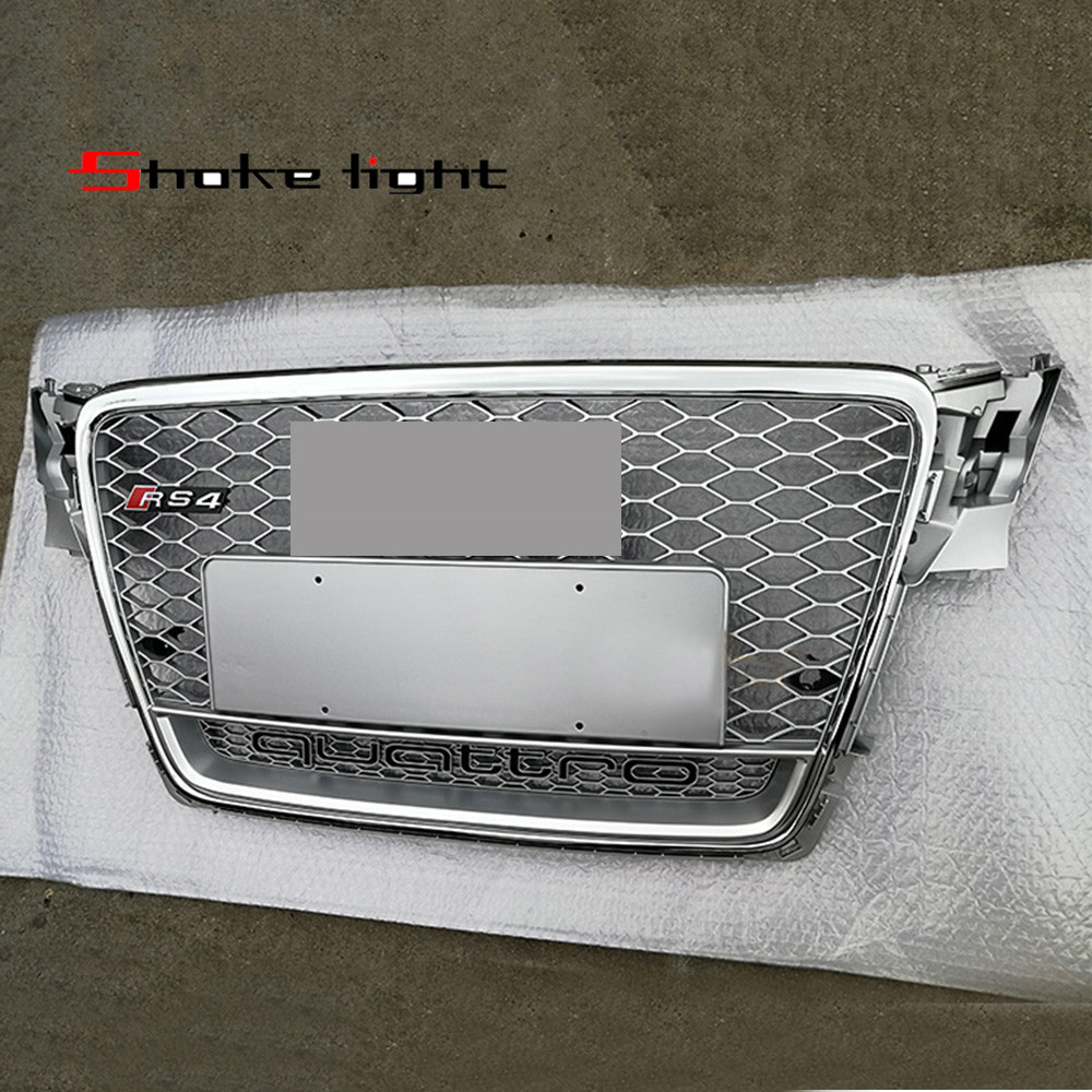 RS4-Styling A4 B8 Grill 2009-2012 ABS Black Painted Front Honey Mesh Grille for Audi A4 S4 RS4 B8 Sedan Coupe Convertible