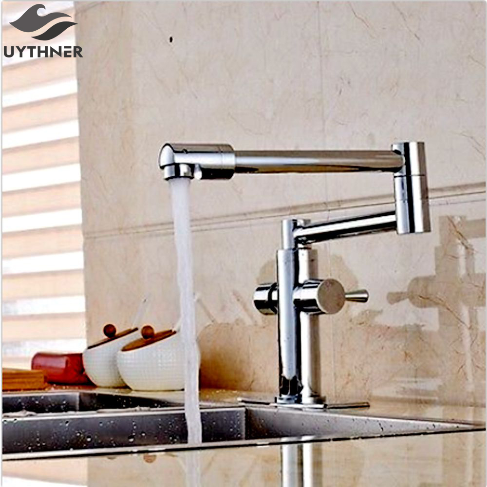 Uythner Chrome Extent Kitchen Faucet Long Spout Vessel Sink Mixer Tap Deck Mounted HandmadeNEW newly contemporary solid brass chrome finish arc spout kitchen vessel sink faucet thermostatic faucet mixer tap deck mounted