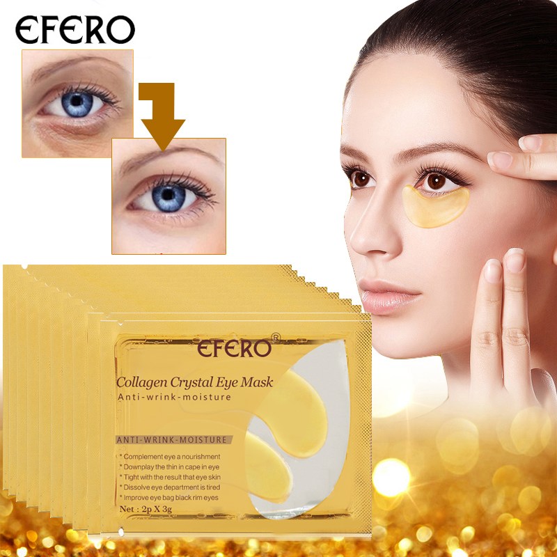 EFERO 24K Gold Crystal Collagen Eye Mask Hydrogel Patches For The Eyes Care Anti Aging Remove Dark Circles Eye Cream 16pcs=8pack 10pair 24k gold eye masks crystal collagen eye mask anti aging patches for eye care remove dark circles fine lines gel eye mask