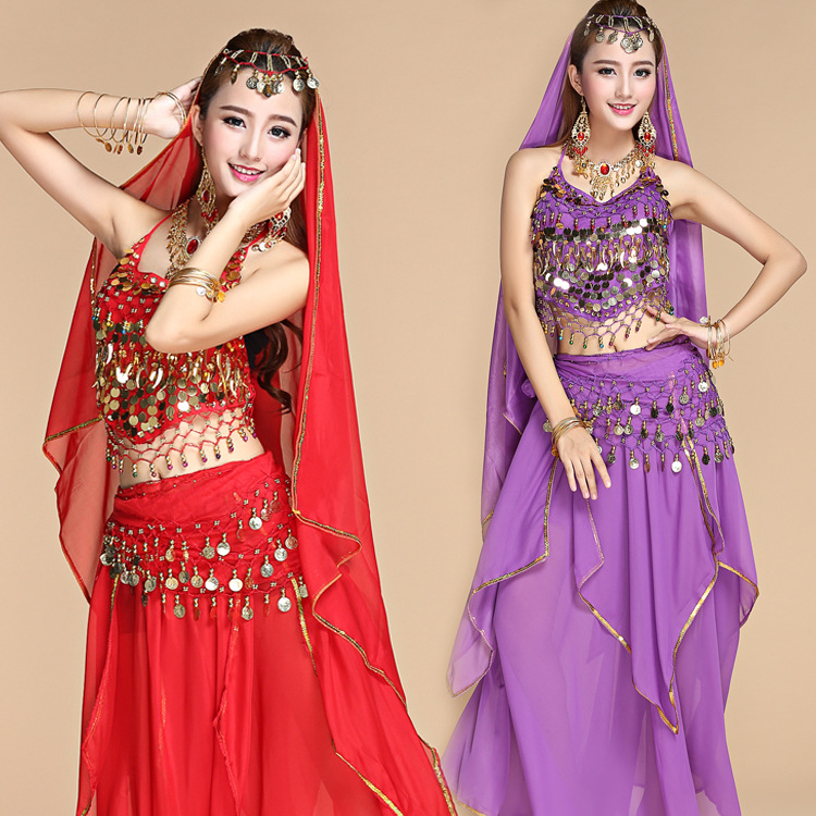 Belly dance practice set national dance costumes Indian dance dance clothes small pepper suit skirt summer female