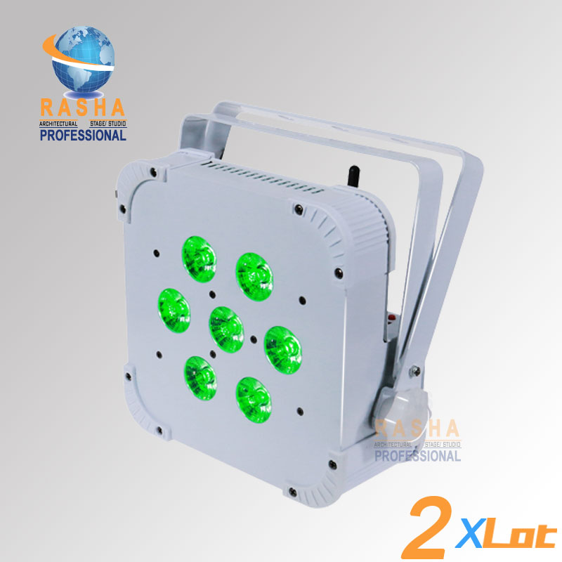 2X Hot Sale Rasha Quad 7*10W RGBA/RGBW 4in1 Wireless LED Flat Par Profile,LED Flat Par Can,Disco DMX512 Stage Light 2x lot rasha quad 7pcs 10w rgba rgbw 4in1 dmx512 led flat par light wireless led par can for disco stage party
