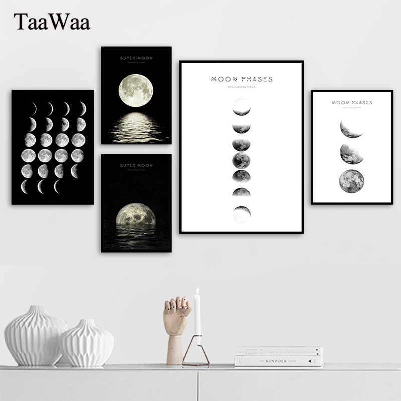 Moon Phase Eclipse Nordic Decoration Pictures Luba Canvas Poster and Print Wall Art Abstract Painting for Modern Home Decor