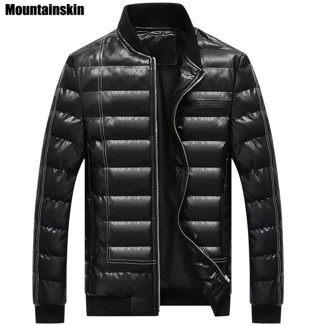 Mountainskin Winter New Men's Cotton Jacket Solid Fashion PU Leather Men's Jacket Thick Thermal Male Parka Brand Clothing SA149