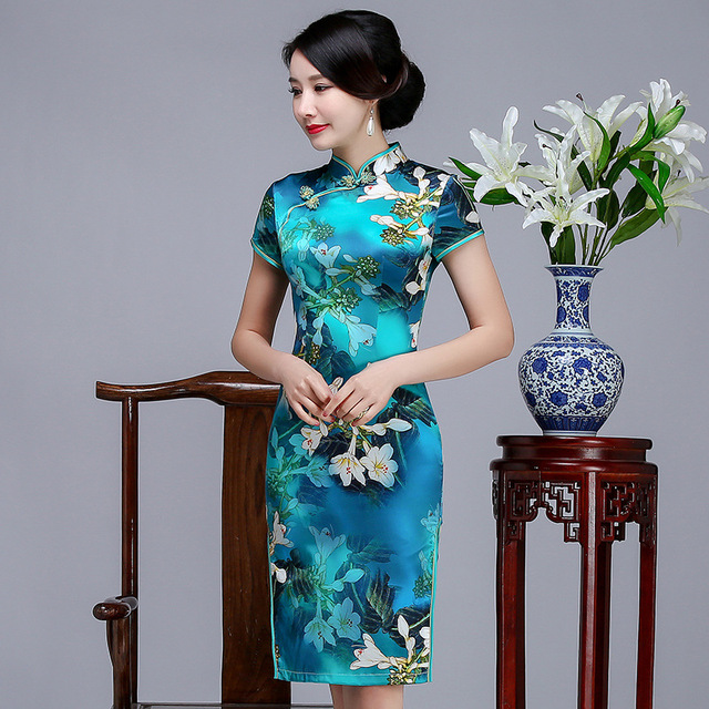 cda22c749 New Arrival Print Female Qipao Oversize Silk Chinese Traditional Floral  Dress Short Vintage Mandarin Collar Cheongsam S-3XL