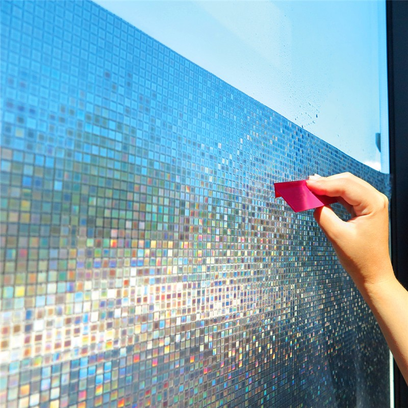 60*200 cm Mosaic frosted privacy window film,rainbow color opaque static cling glass film,heat transfer vinyl foil