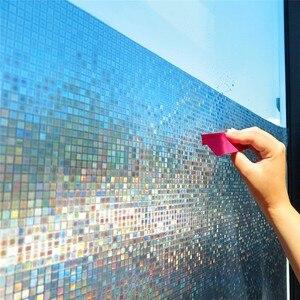 Image 1 - 60*200 cm mozaika matowa folia okienna prywatności, kolor tęczy nieprzezroczyste statyczne przylgnięcie folii szklanej, folia winylowa do przenoszenia za pomocą ciepła folia okienna