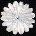 Envío gratis hermosa joyería 35 mm blanco madre de pearl redonda flor de la cáscara mujer hombre colgante del grano PC3718