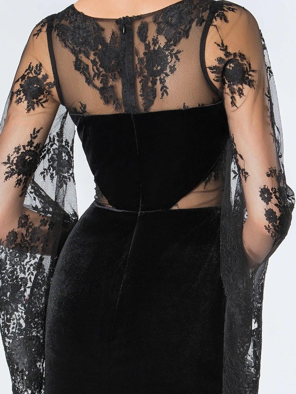 Dressv Vintage čipke muslimanske večernje haljine plašt O-vrat - Haljina za posebne prigode - Foto 6