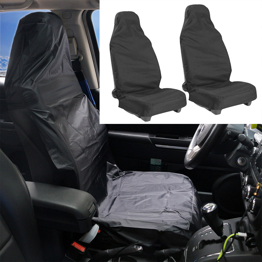 Waterproof High Density Nylon Front Universal Car Van Heavy Duty Black Protectors Automobiles Seat Covers Free