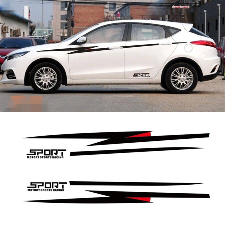 Pair Car Body Side Vinyl Decal Sticker Sports Racing Race Car Long Stripe Decals