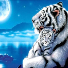 DIY Diamond painting cross stitch Painting Crafts Embroidery 5D Mosaic Decoration Gifts Tiger White