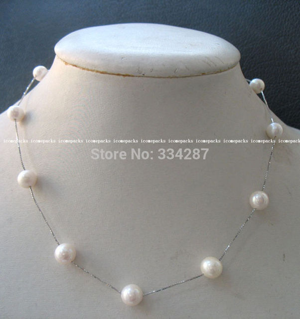 "100% Selling Picture full freshwater pearl S925 white round necklace 16"" nature"