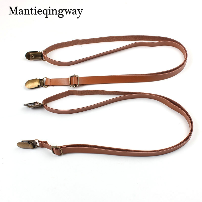 Mantieqingway Fashion Leather Suspenders for Mens 4 Clips Buckle Suspenders Adjustable Women Braces Belt Trousers Dress Strap
