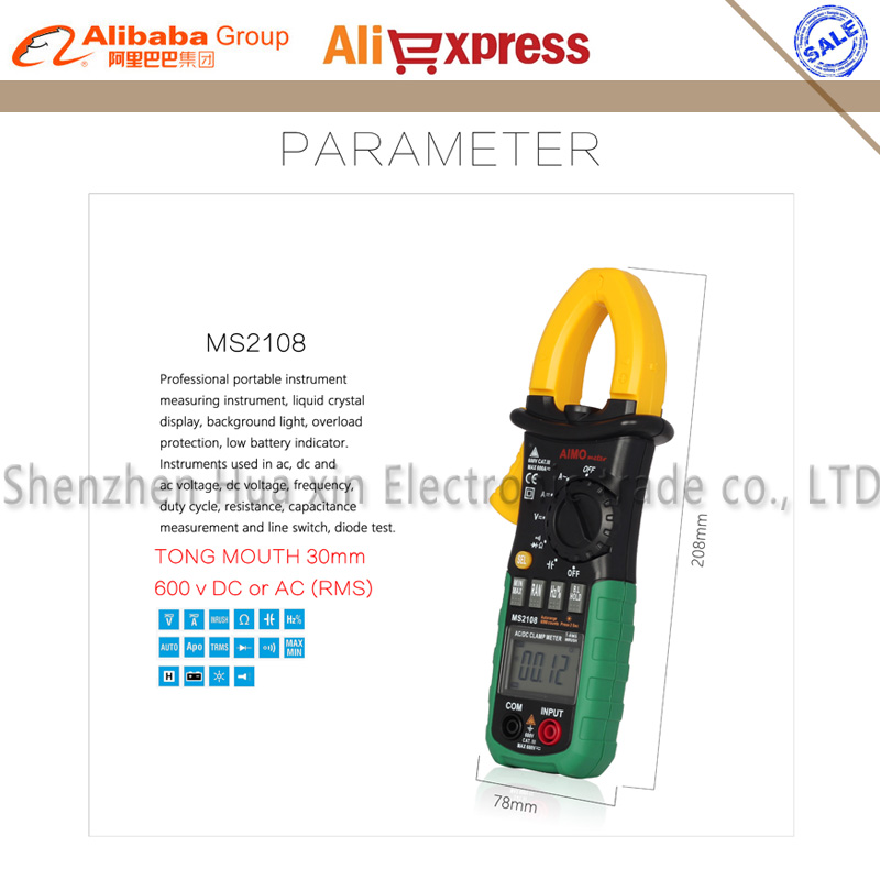 Digital Multimeter MS2108 Amper Clamp Meter Current Clamp Pincers AC/DC Current Voltage Capacitor Resistance Tester auto digital clamp meter mastech ms2108a pincers ac dc current voltage capacitor resistance tester aimometer multimeter amper