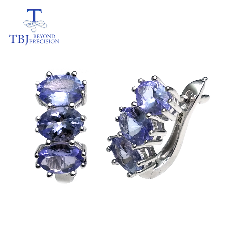 TBJ Small romantic earrings with natural tanzanite gemstone in 925 sterling silver lovely Valentine gift for