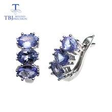 TBJ, küçük romantik küpe doğal tanzanite taş 925 ayar gümüş güzel sevgililer hediye kadınlar için hediye kutusu