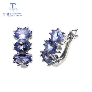 Image 1 - TBJ, küçük romantik küpe doğal tanzanite taş 925 ayar gümüş güzel sevgililer hediye kadınlar için hediye kutusu