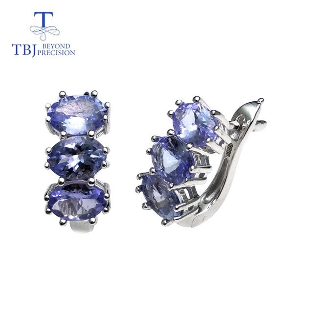 TBJ, קטן רומנטי עגילי עם טבעי tanzanite חן ב 925 סטרלינג כסף יפה ולנטיין מתנה עבור נשים ליידי אריזת מתנה