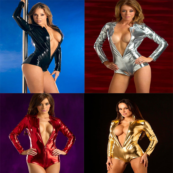 Black/Red/Gold/Silver  New Arrival Faux Leather Costume Wet Look Stretch Short Catsuit Pole Dancing Clothes Show Performing