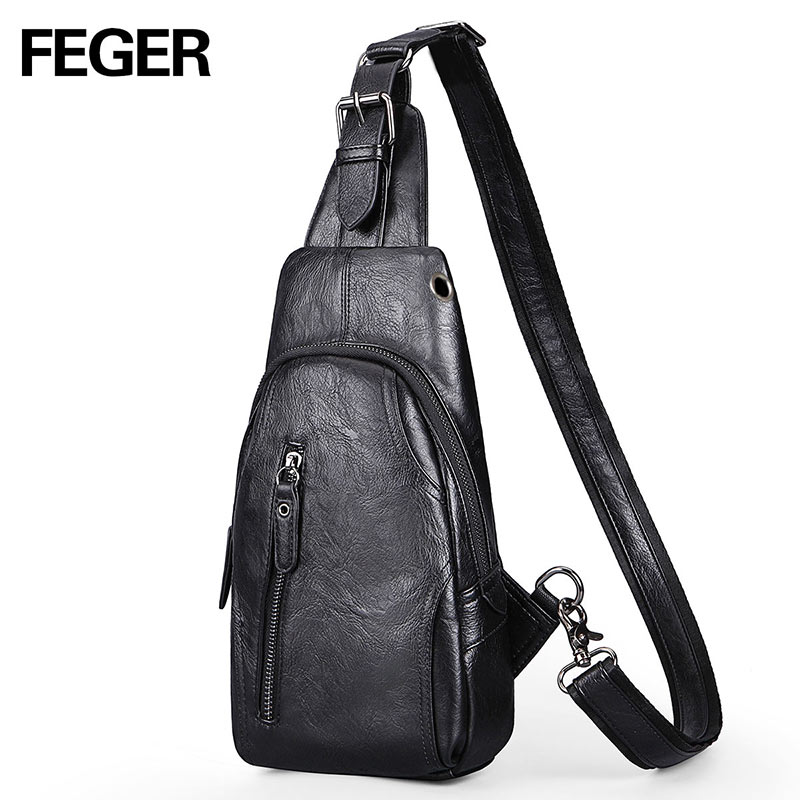 Feger Fashion Brand Men Chest Pack Handbag PU Leather Messenger Bag comouflage Crossbody Bags Sling Single Shoulder Strap