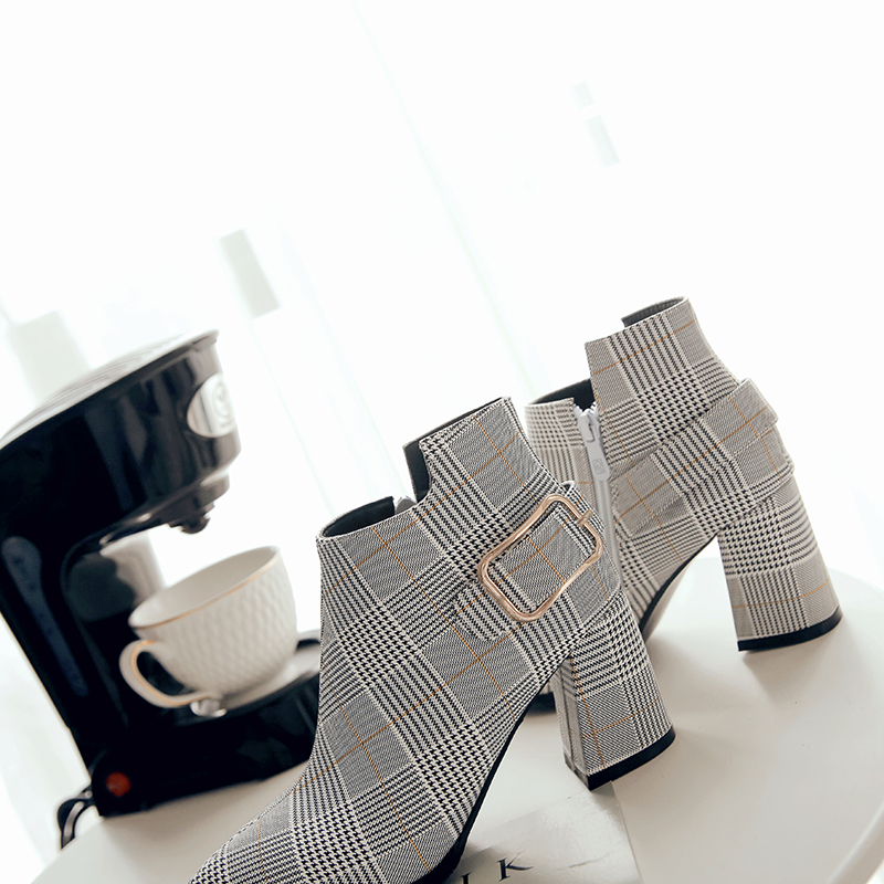 Women's Boots, Fashion Plaid Pointed Toe High Heels, Winter Ankle Boots 12