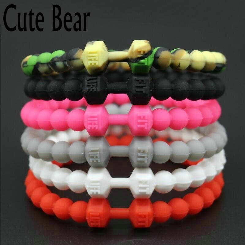 Cute Bear Silicone Bracelets & Bangles Fashion Fitness Sports Machine Injection Mumbing Dumbbell ձեռնաշղթա տղամարդկանց համար տղամարդկանց զարդեր