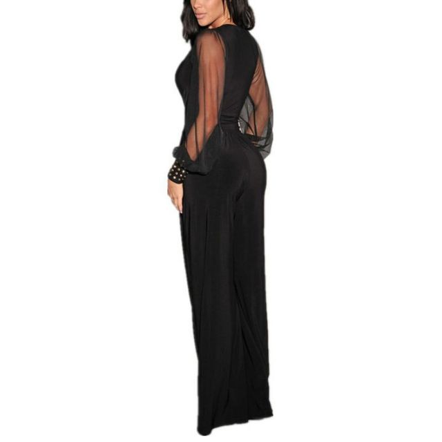 Winter Autumn Club Party Black V-neck Embellished Cuffs Long Mesh Sleeves Loose Jumpsuit Rompers womens jumpsuit