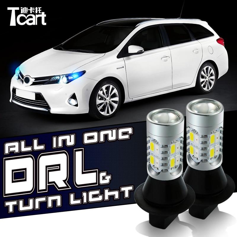 Tcart 2PCS Auto Led Bulbs DRL Daytime Running Light Front Turn Signals White+Amber Lamp PY21W BAU15S For Renault Kangoo Megane 2