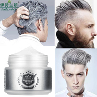 ISILANDON Color Hair Wax Styling Pomade Silver Grandma Grey Temporary Hair Dye Disposable Fashion Molding Coloring Mud Cream