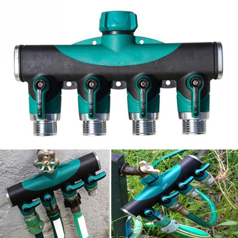 Agricultural U0026 Commercial Use 3/4 Inch Garden Hose 4 Way Splitter Water  Pipe Faucet Shut Off Valve Connector US Standard Thread In Garden Water  Connectors ...