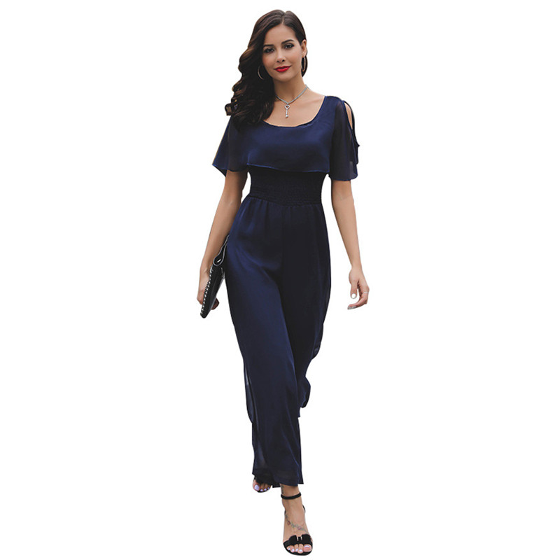 Vertical Striped Summer Jumpsuit Romper Sexy Women Rompers Wide Leg Loose Casual Overalls 3