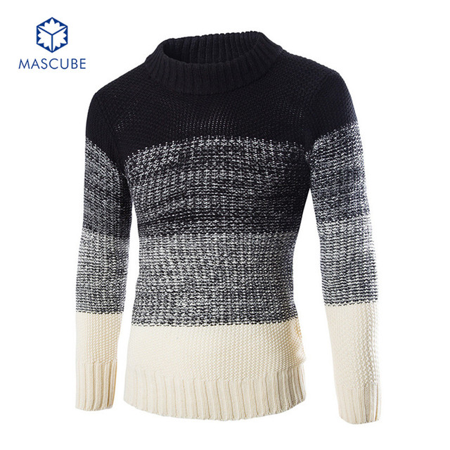 Autumn Winter Splicing Stripe Round Neck Pullover Men Slim Fit Knitted Sweater Pull Homme Fall Knitwear Christmas Mens Sweaters