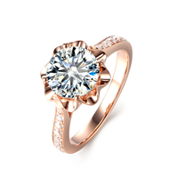 14k Rose Gold 0.5ct 5ct Carat Moissanites Ring Prong Setting Lab Grown Diamond Ring For Women Engagement Fine Jewelry