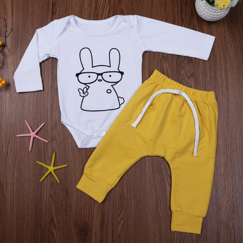 Kids Autumn Clothing Set Baby Boys Girls Long Sleeve Cartoon Rabbit Print Jumpsuit + Pants Outfits Infant 2pcs Clothes Set autumn winter baby clothes toddler boys girls rompers one piece letter printed long sleeve jumpsuit kids baby outfits clothing
