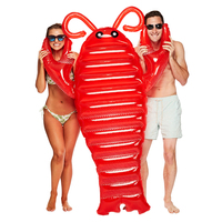 190CM Giant RED Lobster Inflatable Pool Float Lie On Swimming Ring For Children Adult Air Mattress Water Party Fun Toys Lounger