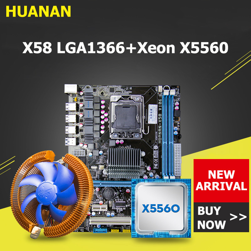 HUANAN X58 motherboard CPU combos with cooler USB3.0 X58 LGA1366 motherboard Xeon X5560 CPU RAM dual channel ALL TESTED