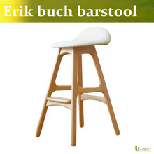 Free shipping U-BEST Nordic designer coffee shop solid wood bar chair,Wedding photography shop stool,Domestic bar stool