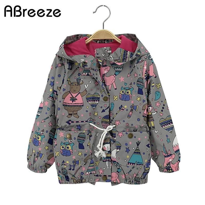 2018 New Summer automne enfants Top vêtements filles occasionnels enfants filles vestes 2-8T gris et bleu vestes à capuchon pour enfant filles