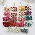 6 шт./лот, шелковые градиентные мини розы, искусственные цветы для свадебного декора, венок для творчества, подарок, скрапбукинг, цветы